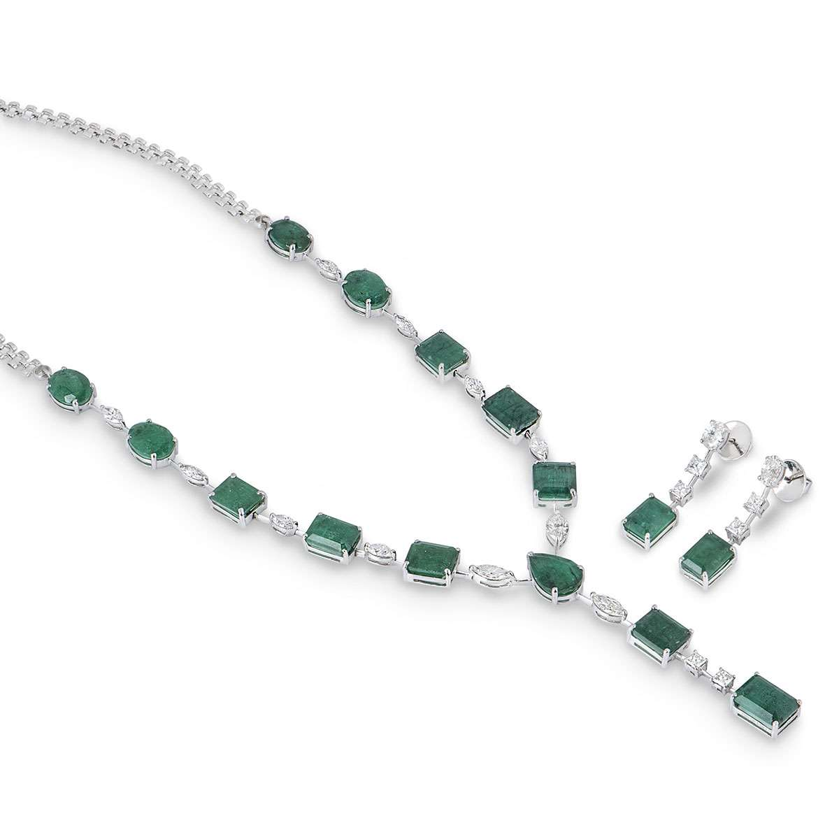White Gold Emerald & Diamond Jewellery Suite